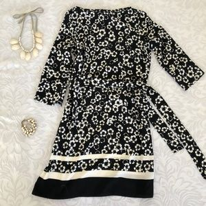 HM floral shift dress with belt tie